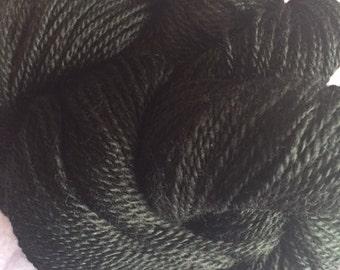 2 ply Handspun Black Alpaca Yarn
