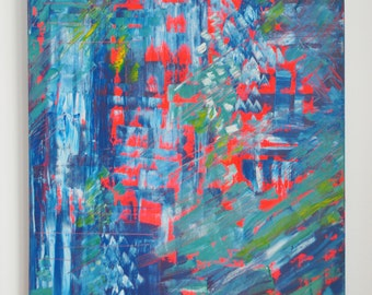 Large Neon Red Abstract Painting