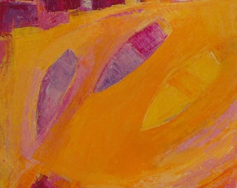Original Contemporary Abstract Seascape, Acrylic Art Boat Painting, Canvas Art 12 x 12 ins Titled: 'Orange Dream', Orange, Yellow, Violet