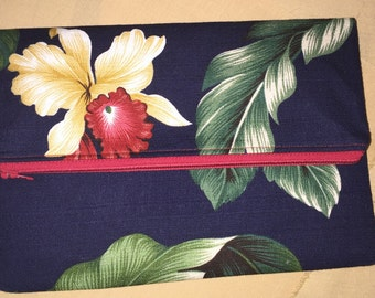 Hawaiian Print Foldover Clutch