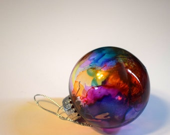 Alcohol Ink Ornaments (Set of 2), Set of 2 See-through Christmas Ornaments