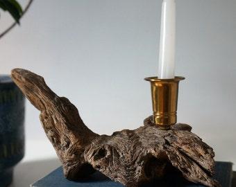 mid century driftwood candlestick holder - brass wood candlestick holder - beach house decor - lake house decor - nautical decor - driftwood