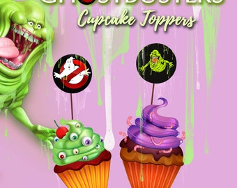 35 Ghostbusters Cupcake Topper sticker, Toppers, Slimer Party, Birthday Party, Printable Cupcake Toppers, Instant Download