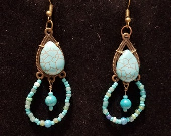 Beautiful Blue Turquoise Teardrop and Seed Bead Gemstone Chandelier Earrings, with Antiqued Brass Findings;   Christmas Sale!!
