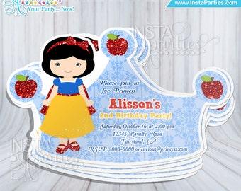Snow White invitations Princess crown tiara Princess cut out birthday invitation invites party /princesses invitation cards cutest cute