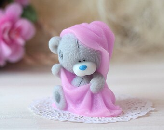 Baby Shower Favors, Gift For Girl Handmade Novelty Soap - Little Gray Teddy Bear With Towel, Novelty Gift For Her, Custom Scented