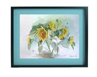 Sunflowers ORIGINAL Watercolor Painting Sunflowers Watercolor Painting Modern Watercolour Art