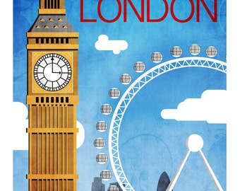 London Vintage Style Travel Poster