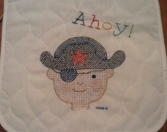 Eye patch cross stitch pirate bib