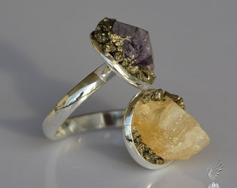 Raw Amethyst Jewelry - Crystal Ring - Amethyst Ring - Raw Citrine Jewelry - Rustic Ring - February Birthstone - November Birthstone Jewelry