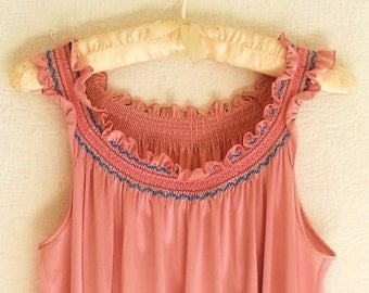 Vanity Fair Nightgown - Size Medium - All  Nylon - Mauve with Teal Accents