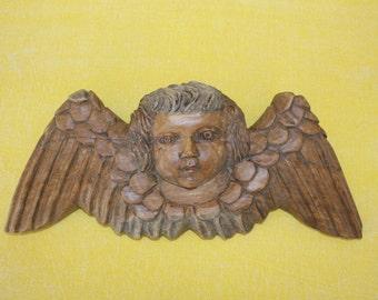 Antique Hand Carved Wooden Angel