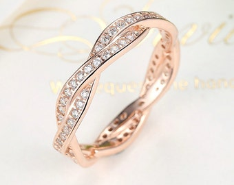 Rose Gold Twist Ring With Cubic Zirconia, 925 Sterling Silver, CZ Ring, Stackable Ring, DIY Fashion Jewelry