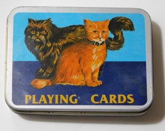 Cats and Eagle Playing Cards, Two Sets, Tin Box, Vintage, Complete