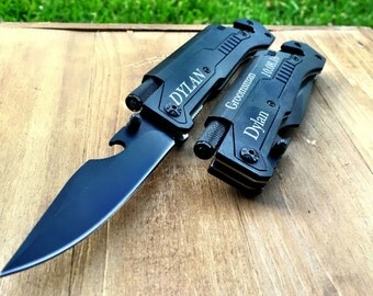 Personalized Monogrammed Knife, Engraved knife, Groomsman gift, groomsmen gifts, groomsmen knives, groomsman knife, flashlight knife, tool