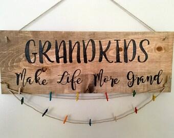 Custom Hand Burned Grandkids Make Life More Grand Wood Sign- Custom Grandkids Photo Hanger - Grandkids Picture Display - Grandparent Gift