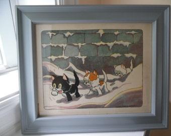 Framed Disney Kitten Print 1935