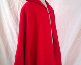 Wool Hooded Cloak, Cloak with Hood, Red Ridding Hood, Victorian, Gnome, Fantasy, Capes