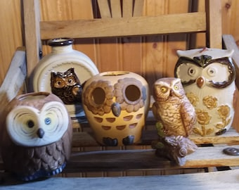 Vintage ceramic owls - 1970s (set of 5) made in Japan
