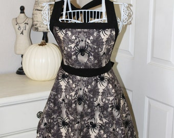 Vintage Style Spiders & Lace Halloween Apron