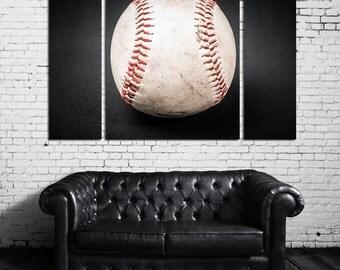 Large Wall Baseball Canvas Color Sport Multipanel Canvas Baseball Canvas Art Large Ball 1-3-4 Panels Set Sport Print