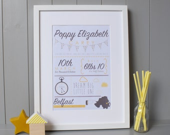 Birth Announcement Print Wall Art (A4) - Customised Personalised Gift Nursery Baby Newborn
