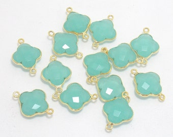 5 Pcs Peru Chalcedony Clover Shape 24k Gold Plated Handmade Bezel Connector, 14X14 mm Clover / Stone Connector /Bezel Connector (PJ04197PJ)