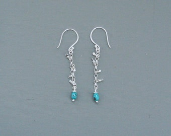 "Sterling Silver ""Mirror"" Sequin Earrings With Semi-Precious A Grade Turquoise Drops"