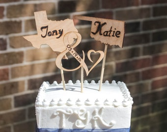 Personalized State Cake Toppers