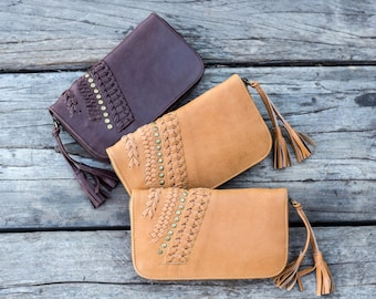 Women's leather wallet / Leather purse / Leather clutch purse / Zip wallet / Brown leather wallet / Bohemian