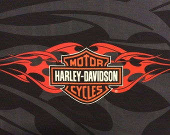 """HARLEY DAVIDSON MOTORCYCLES Logo Fabric Panel W/ Orange Flames On Black & Gray Background 17""""Tall By 35"""" Wide"""
