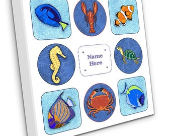 Personalised Sea Life and Tropical Fish on Canvas