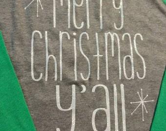 Merry Christmas Y'all Baseball Tee