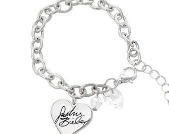 Justin Bieber Signature Heart Charm Bracelet