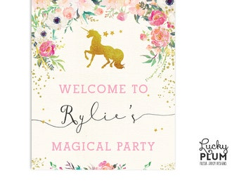 Unicorn Welcome Sign / Horse Welcome Sign / My Little Pony Welcome Sign / Pink Gold Welcome Sign / Flower Welcome Sign UC01