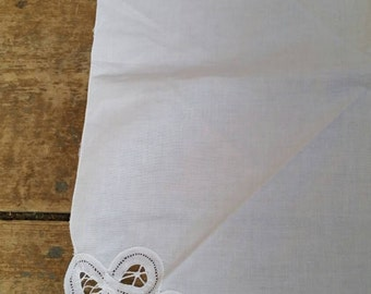 Pair of large white vintage cotton napkins. White Cotton Napkins. White Cloth Napkins. Wedding Hankies.