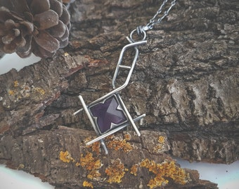 Amethyst purple pyramid natural stone sterling silver rune staves inspired one of a kind item