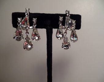 1950's Rhinestone Dangle Earrings with Estate Jewelry Appearance-Classy!