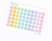 60 x 0.375 inch small heart motif dot planner stickers, pastel, rainbow, checklist, bullet points, loveheart S1DOT9