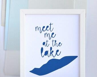 Meet Me At Lake Erie Art, Lake House, Beach House Decor, Nautical, Great Lakes, Michigan, Ohio, Pennslyvania, New York