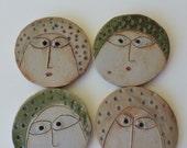 Boutons en céramique, Original, fait à la main, Tara Ross