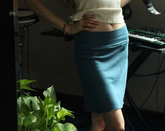 hemp stretch knit skirt - hemp and organic cotton - hand dyed in teal - small