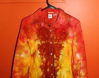 hot rod - hand dyed one of a kind blouse - stretch cotton long sleeve shirt with pleats in red orange and yellow - medium