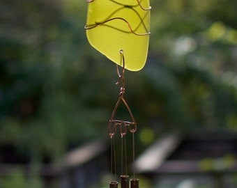 Wind Chime Glass Copper Brass Chimes, stained glass, sea glass, beach glass windchimes