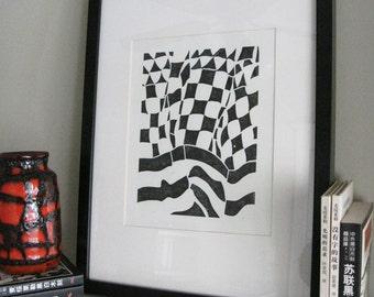 "BLOWING SKIRT  Lino Print - Black & White Abstract Modern Print - Minimalist Print 8x10"" - Ready to Ship"