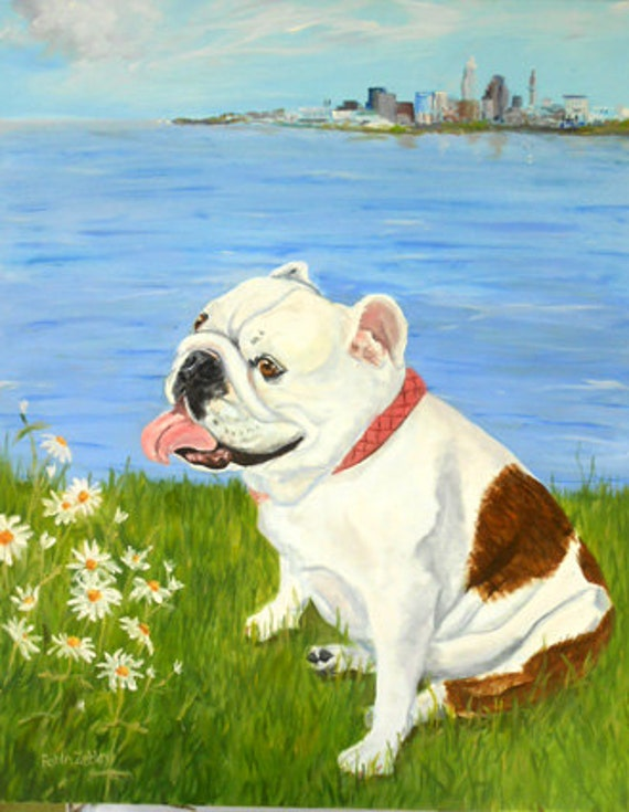 Custom Dog Portrait Painting, Large Oil Painting on Canvas from your photos, English Bulldog or any breed