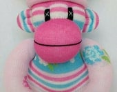 Pretty small shabby chic rose Sock Monkey (made to order)
