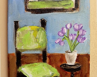 Green Chair, Lavender Tulips,  Original Painting, Vertical Painting, Home Decor, Office Art, Gift, Wall Art, Interior, Landscape, Winjimir