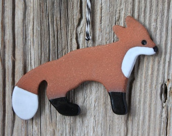 Fox Ornament - Red Stoneware - Handmade Pottery