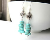 Turquoise and Sterling Silver Earrings - Gemstone Dangle Earrings - Long Southwestern Earrings